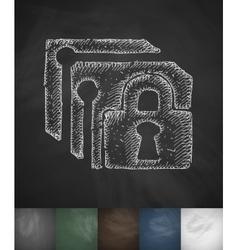lock icon Hand drawn vector image