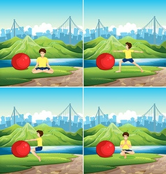 Man doing yoga with big ball in park vector