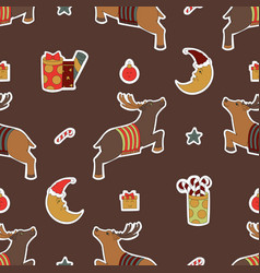 merry christmas brown design gifts reindeer and vector image