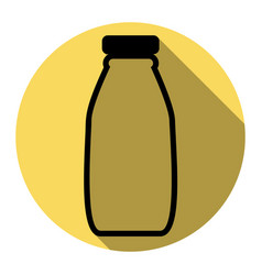 milk bottle sign flat black icon with vector image