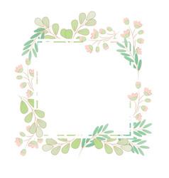 minimal flat style grass flower spring wreath vector image