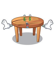 money eye wooden table isolated on the mascot vector image