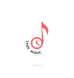 musical note sign and clock icon logo design vector image