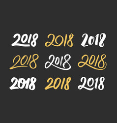 new year 2018 hand drawn numbers set vector image