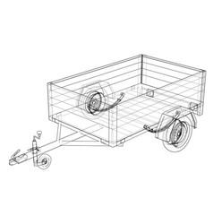 Open trailer sketch vector