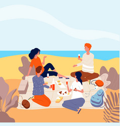 picnic seaside family relax at summer beach vector image