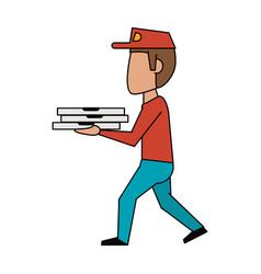 pizza deliver cartoon vector image