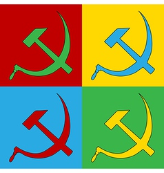 Pop art hammer and sickle icons vector image