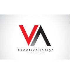 Red and black va v a letter logo design creative vector