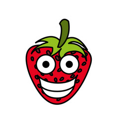 red kawaii fruits strawberry happy icon vector image