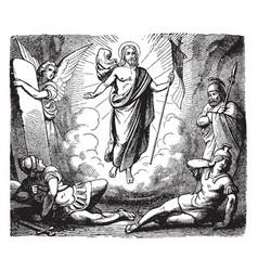 Resurrection jesus after angel removed vector