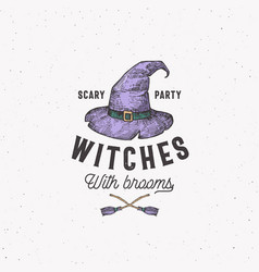 scary party witches with brooms halloween logo or vector image