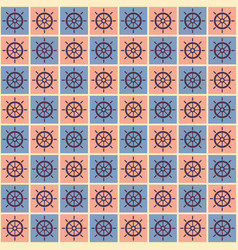 Seamless nautical pattern with steering wheels vector