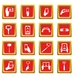 Selfie icons set red vector