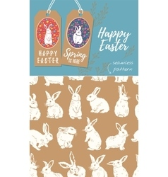 set easter tags and rabbit easter vector image
