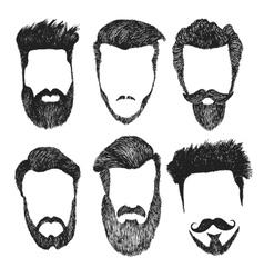 Set hipster style haircut beard vector