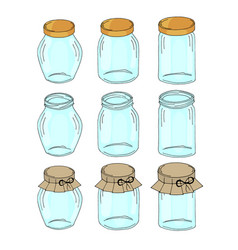 set of empty glass jars for home made vegetables vector image