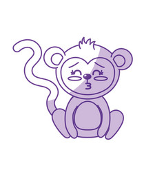 Silhouette cute monkey wild animal with face vector