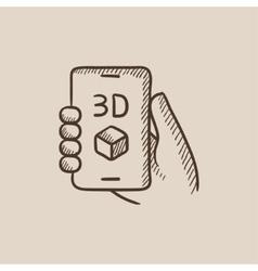 Smartphone with three D box sketch icon vector