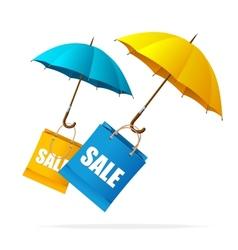 Spring sale labels with umbrellas vector