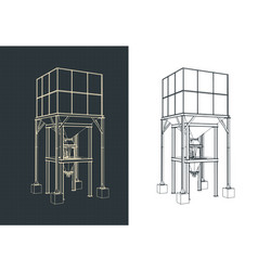 Storage and buffer silo blueprints vector