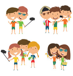 summer male and female characters make a selfie vector image