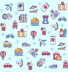 travel linear icons set vector image