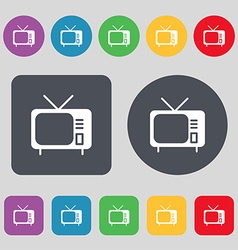 Tv icon sign A set of 12 colored buttons Flat vector