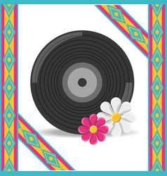 vinyl and flower hippie concept vector image