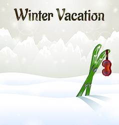 Winter vacation ski goggles on skiing vector image