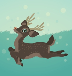 with deer in green field and snow vector image