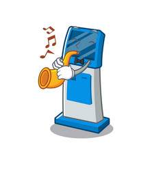 With trumpet information digital kiosk isolated in vector