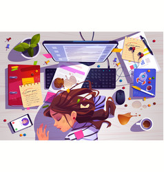 woman sleep on workplace top view tired girl vector image