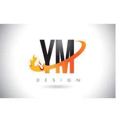 ym y m letter logo with fire flames design and vector image