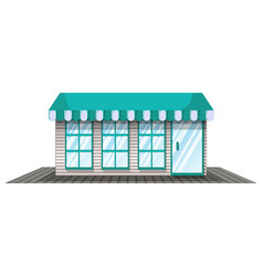 coffee shop with blue roof vector image vector image
