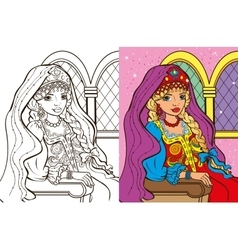 Colouring Book Of Russian Princess vector image