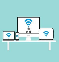 Free wi-fi multi platform device vector image