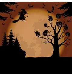Halloween landscape with witch and pumpkins vector image vector image