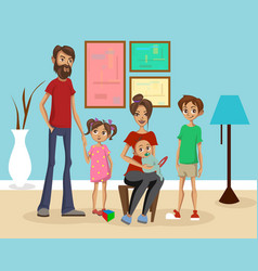 happy family at home mother father and their vector image