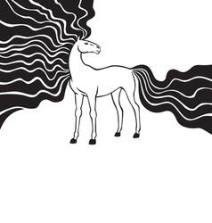 Horse long mane vector