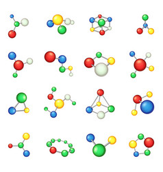 molecule icons set cartoon style vector image vector image