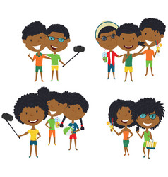 summer african-american male and female vector image vector image