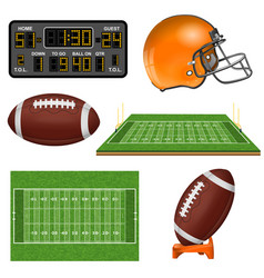 american football realistic icons vector image vector image