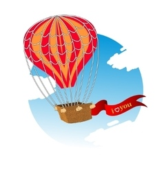 Wedding invitation card with flying hot air vector image