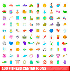 100 fitness center icons set cartoon style vector image vector image