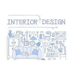interior design set hand drawn furniture vector image