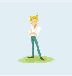modern prince in casual clothes and golden crown vector image vector image
