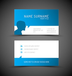 Modern simple blue business card template with vector image vector image