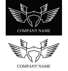 sparta warrior wing logo vector image vector image