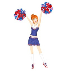 cheerleader with pom-poms vector image vector image